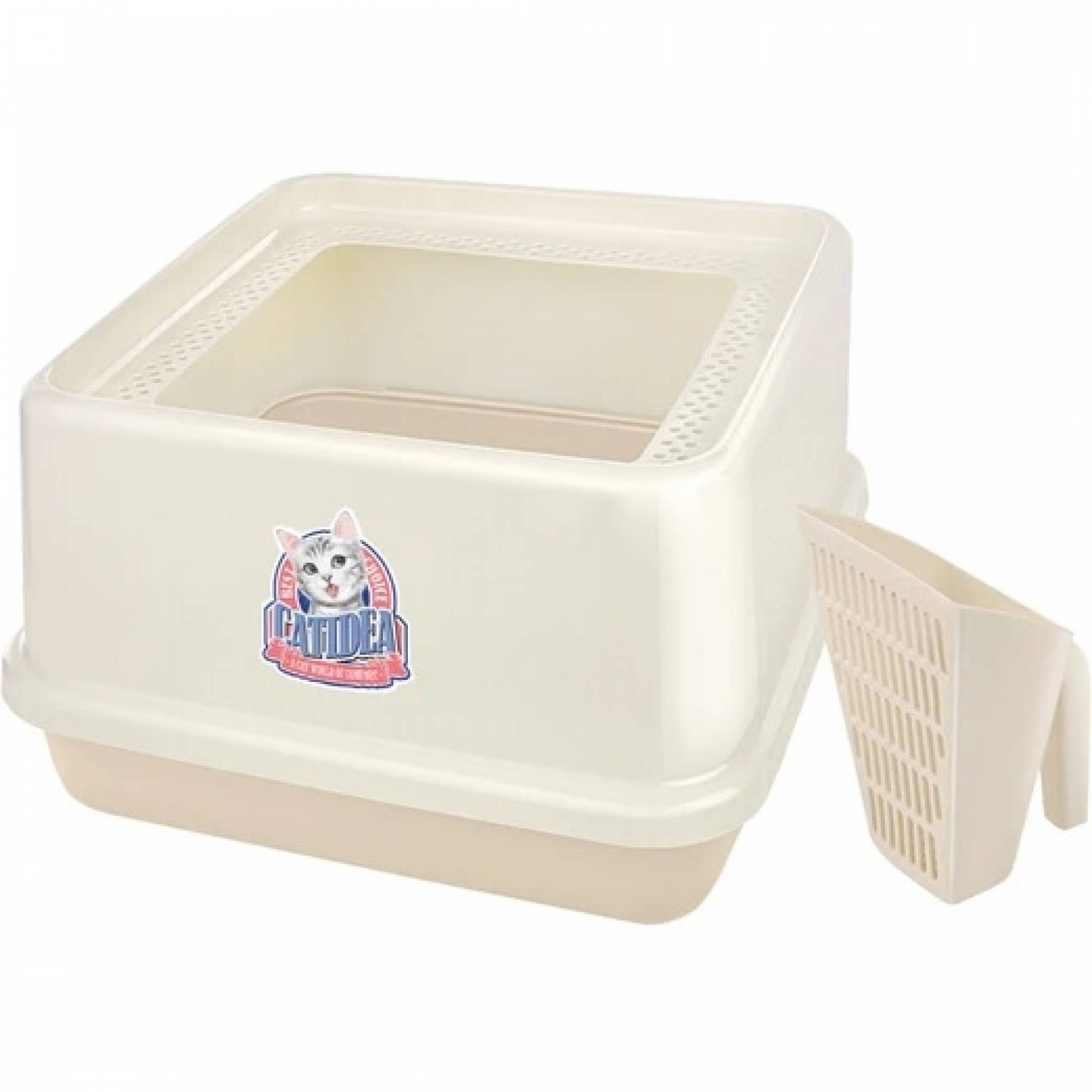 CATIDEA - CL201 Corner Top Entry Cat Litter Box - Cream