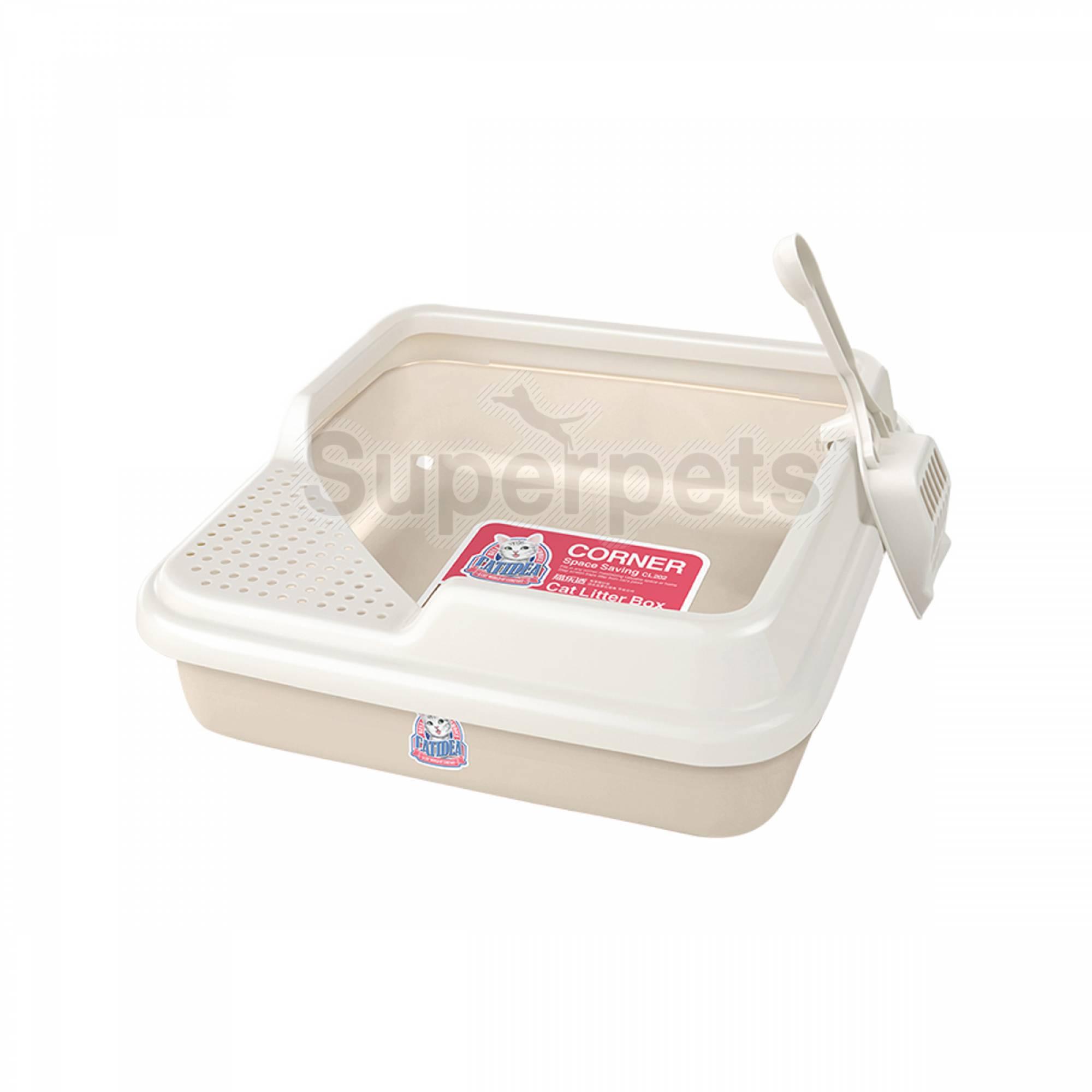 CATIDEA - CL202 Corner Cat Litter Box - Cream
