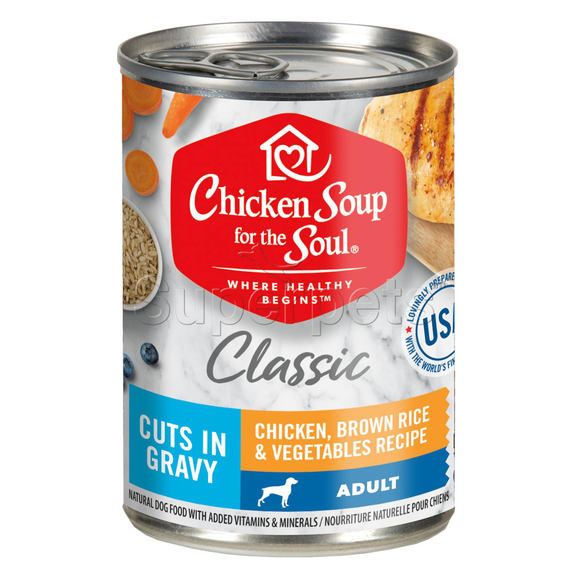 Chicken Soup for the Soul Dog Classic Cuts in Gravy 13oz Adult Chicken, Brown Rice & Vegetables Recipe