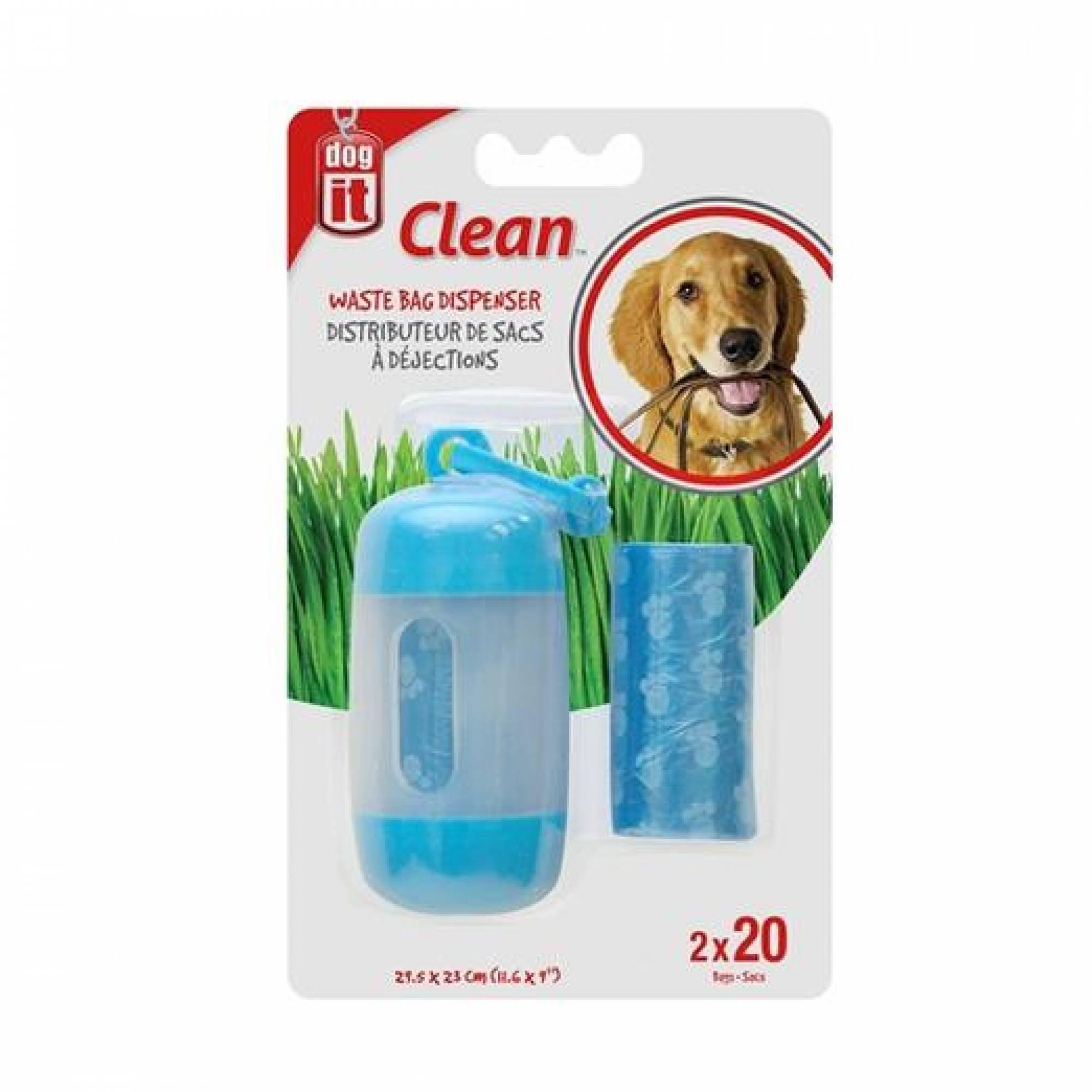 DogIt Clean Waste Bag Dispenser Blue 2 Rolls / 20 Bags