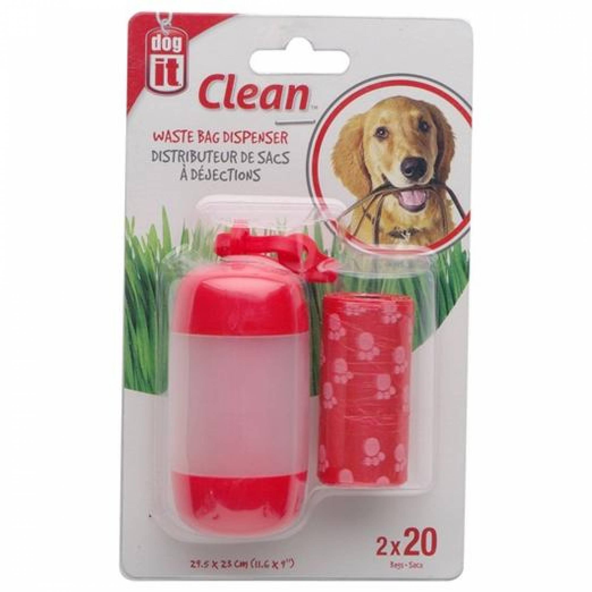 DogIt Clean Waste Bag Dispenser Red 2 Rolls / 20 Bags