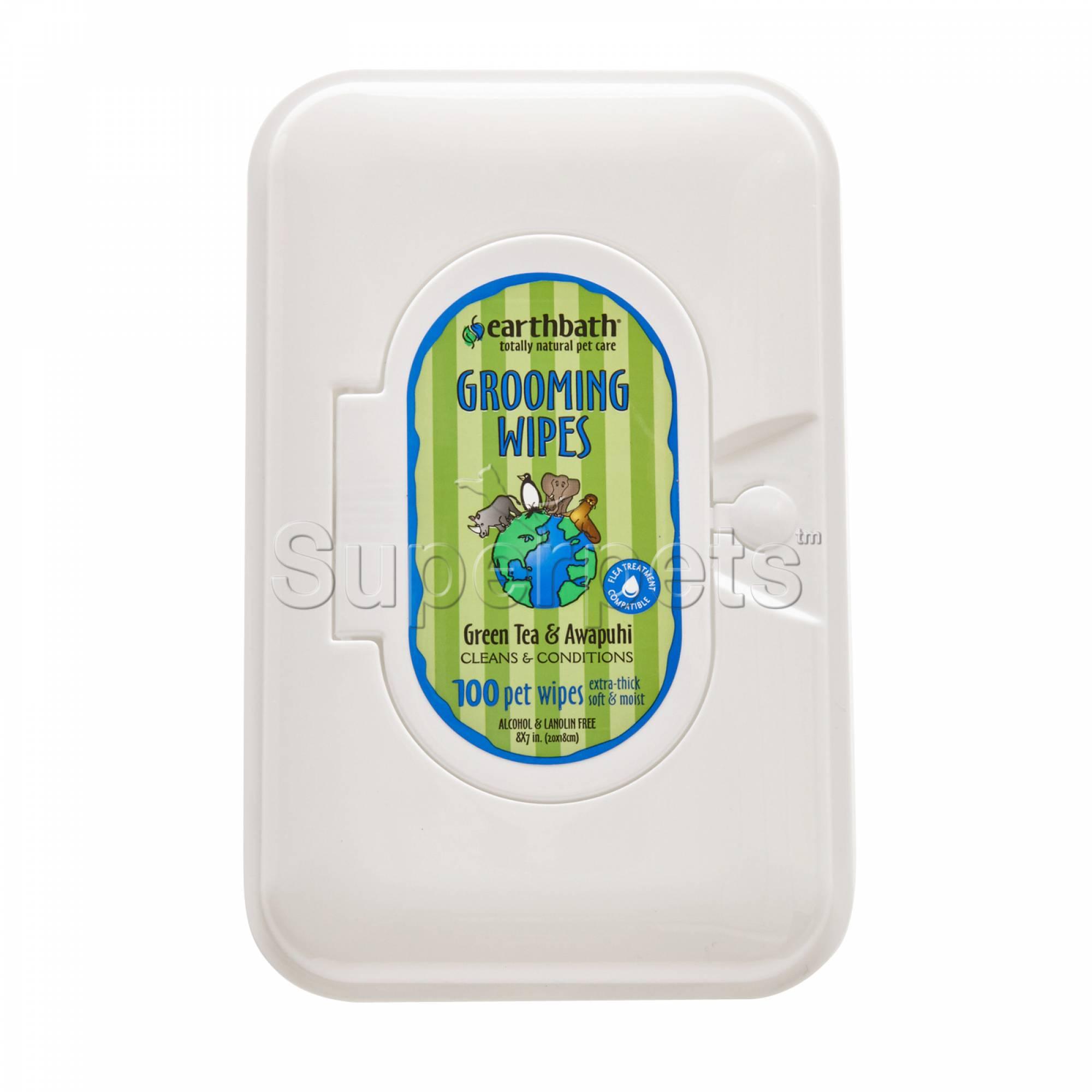 Earthbath EB031 Grooming Wipes - Green Tea & Awapuhi x100pcs