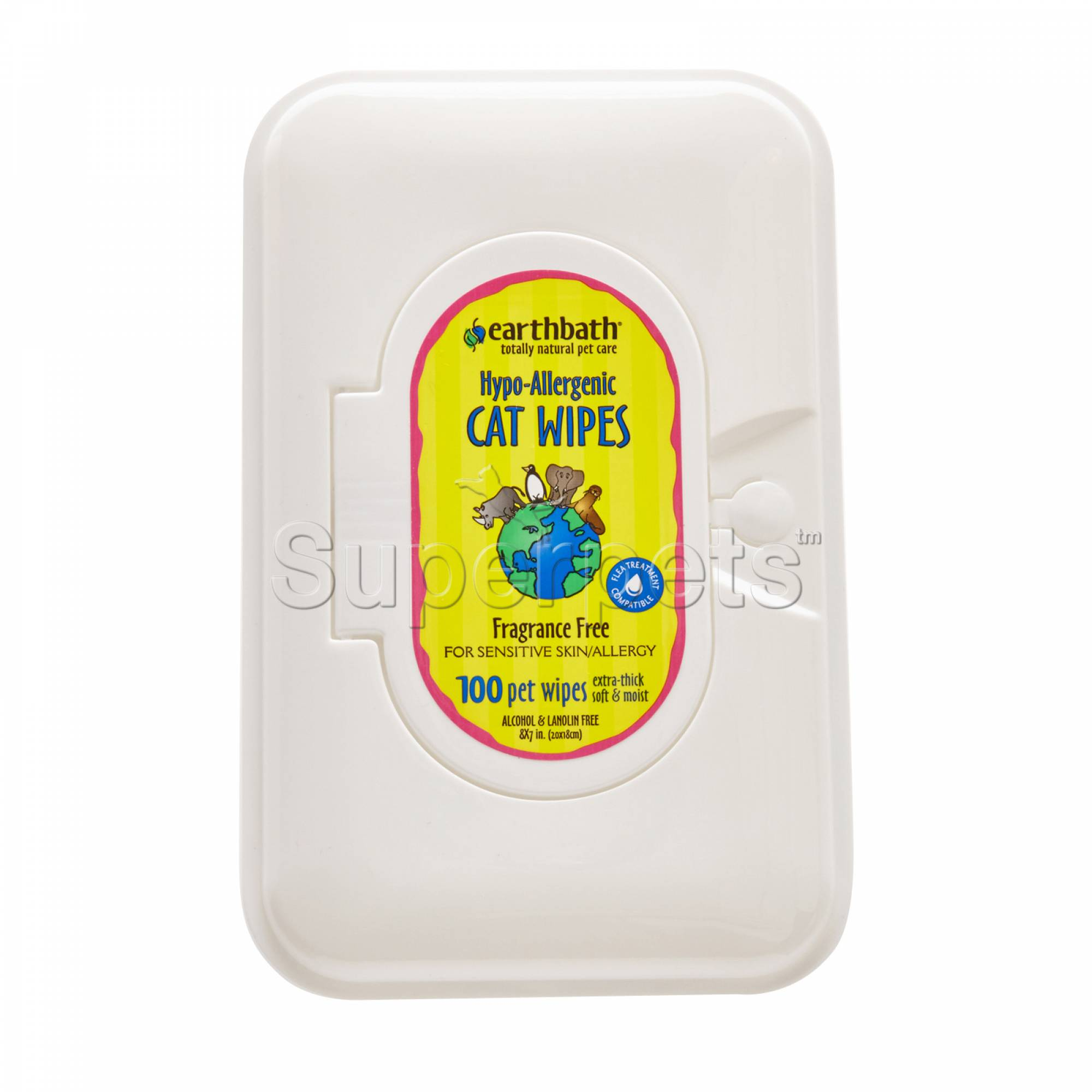 Earthbath EB034 Hypo-Allergenic Cat Wipes - Fragrance Free x100pcs