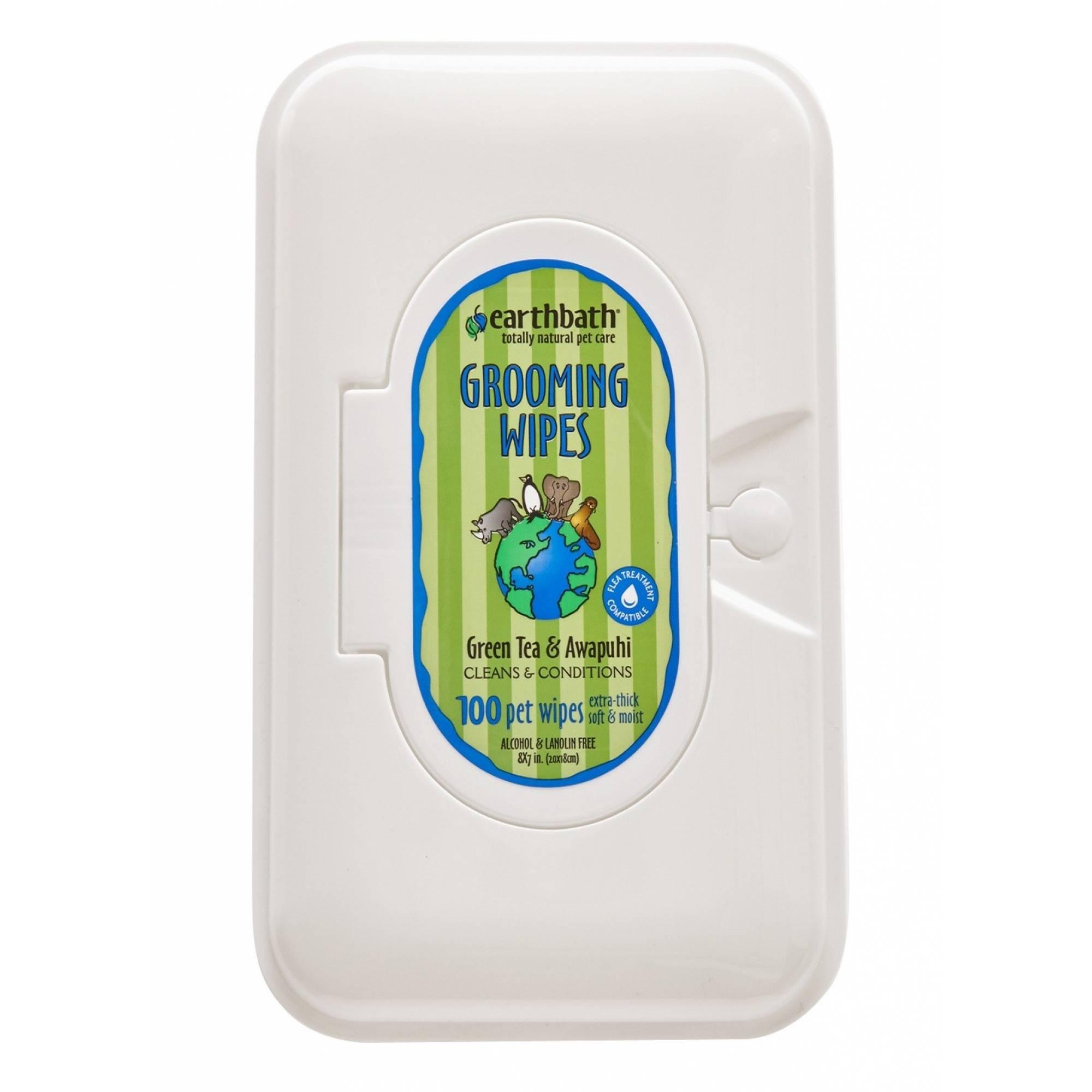 Earthbath EB036 Green Tea with Awapuhi Grooming Cat Wipes 100pcs