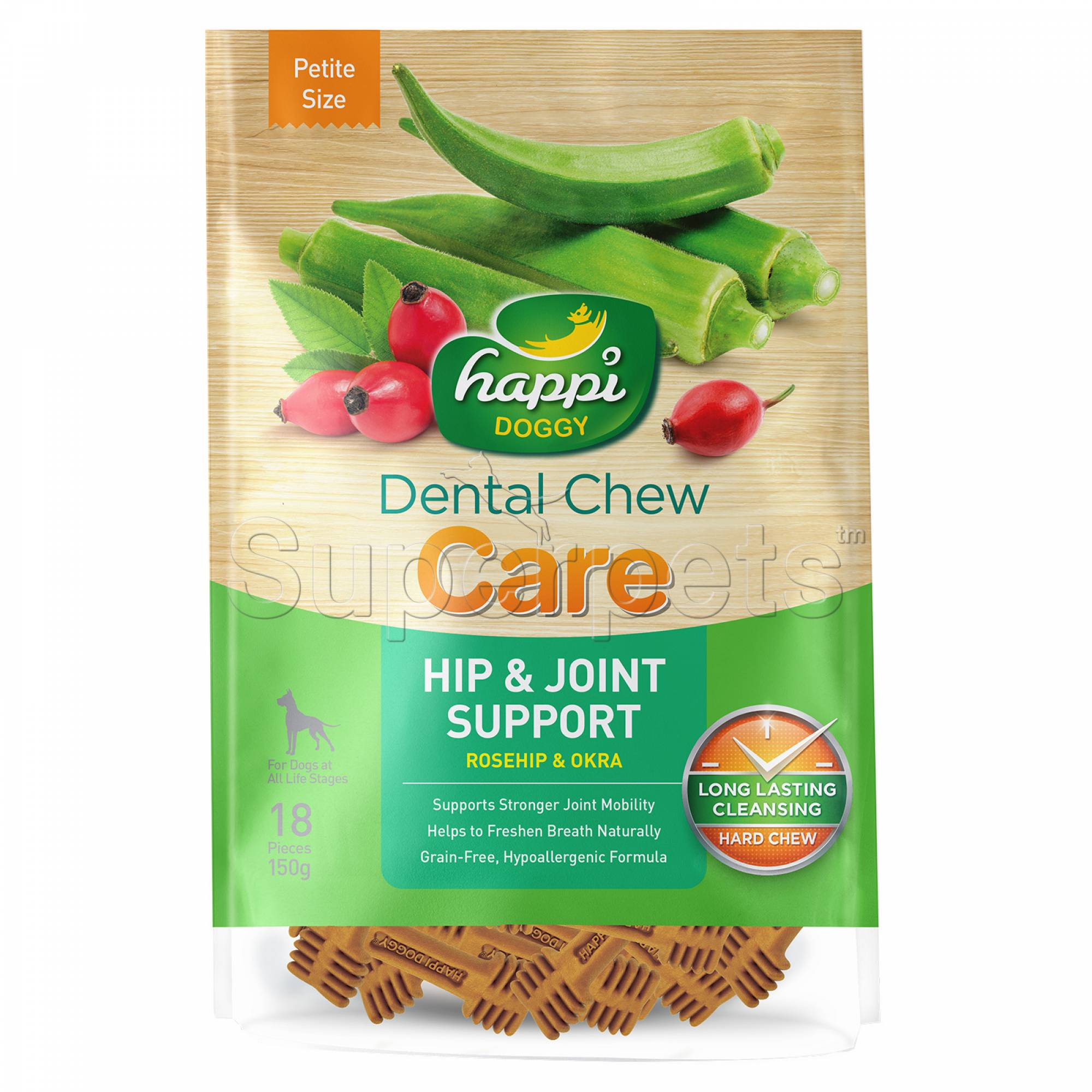 Happi Doggy H321 Dental Chew Care (Hip & Joint Support) Petite Size 18pcs 150g