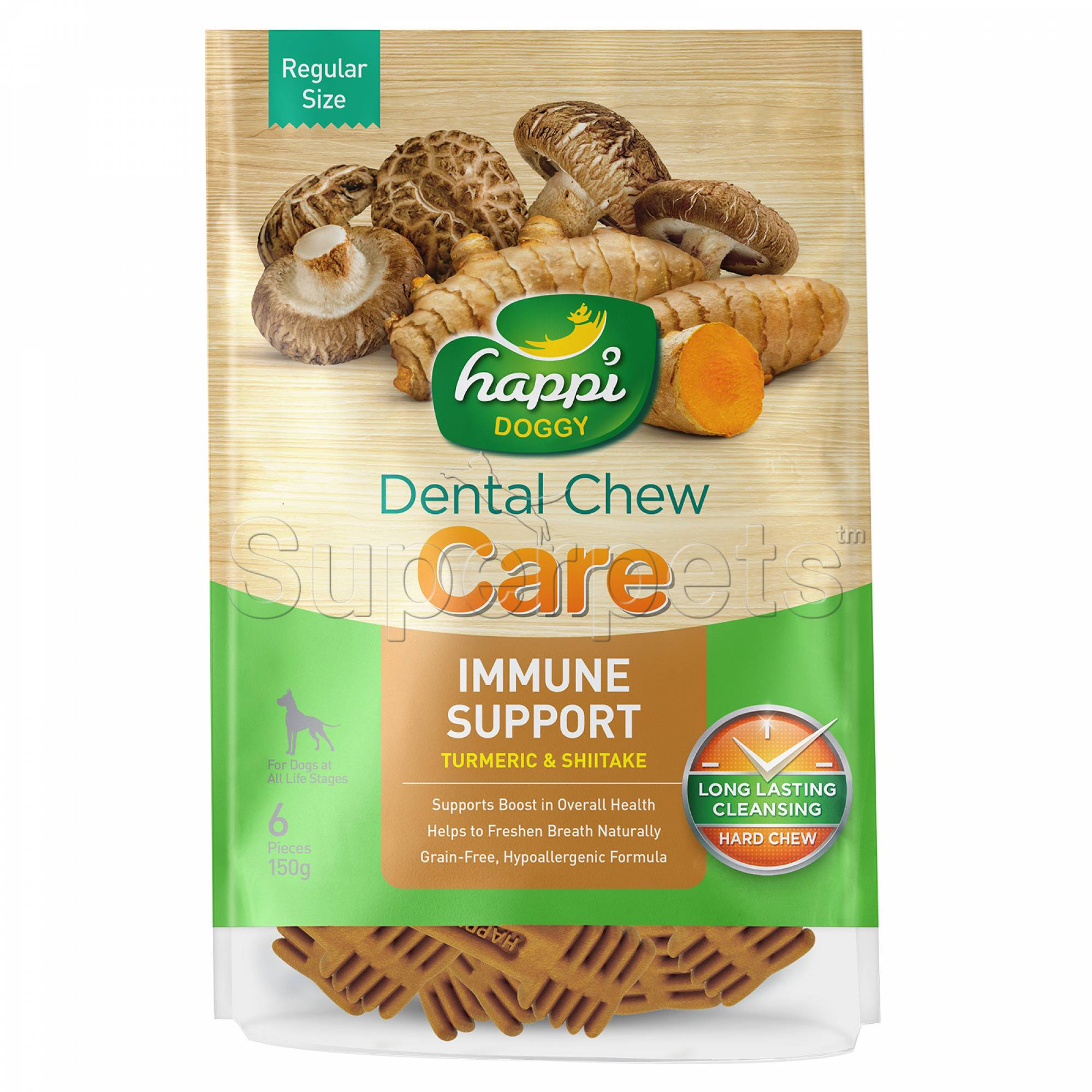 Happi Doggy H312 Dental Chew Care (Immune Support) Regular Size 6pcs 150g