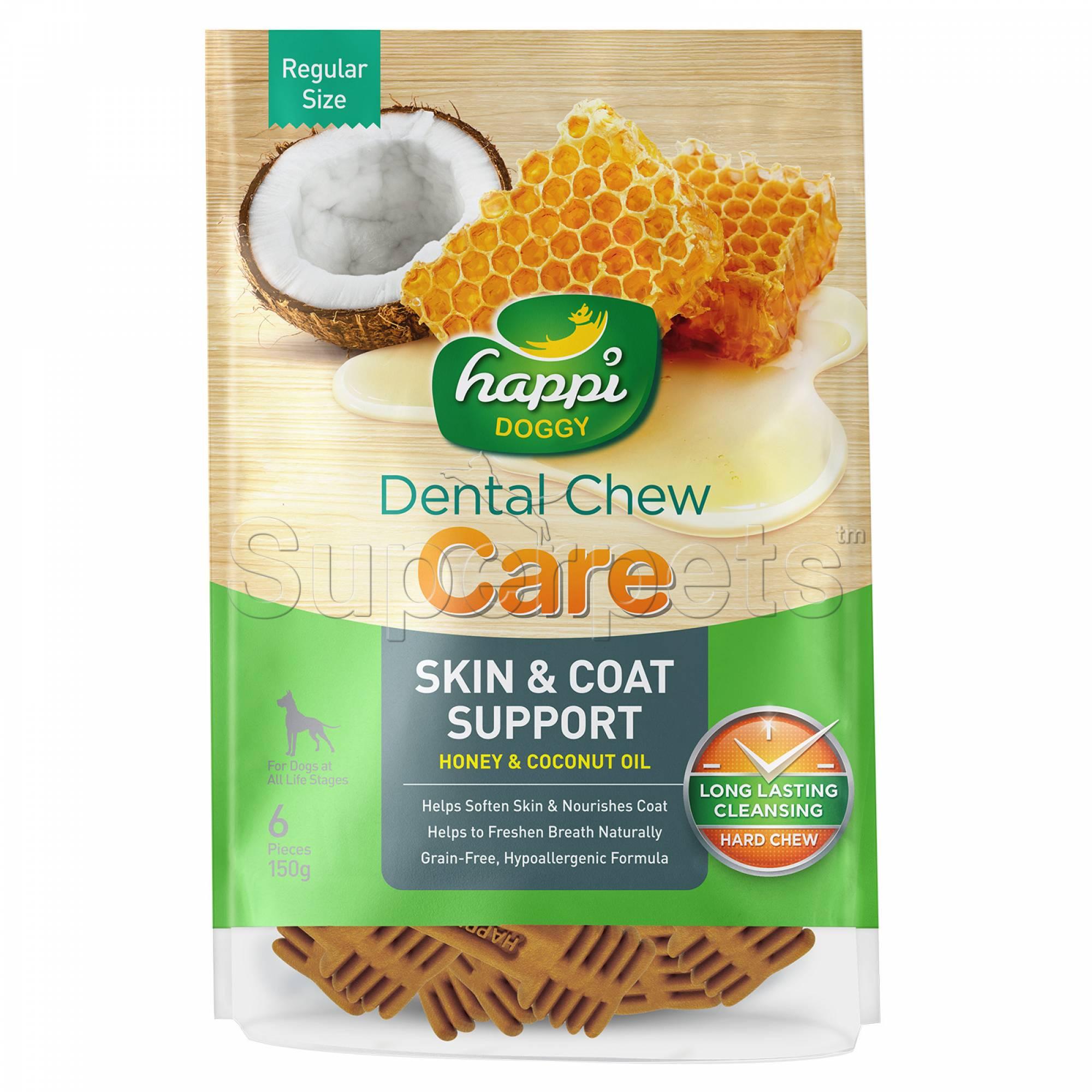 Happi Doggy H332 Dental Chew Care (Skin & Coat Support) Regular Size 6pcs 150g