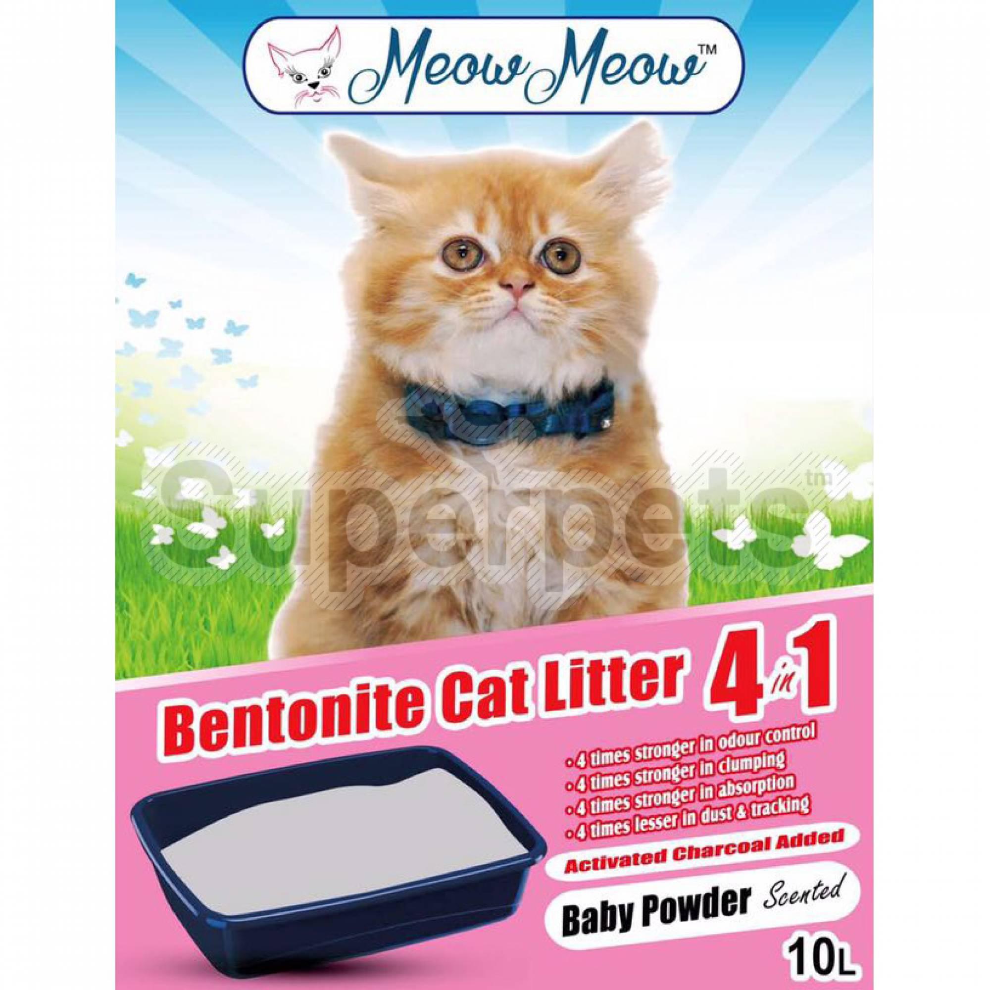Meow Meow - Bentonite Cat litter 4-in-1 - Baby Powder 10L