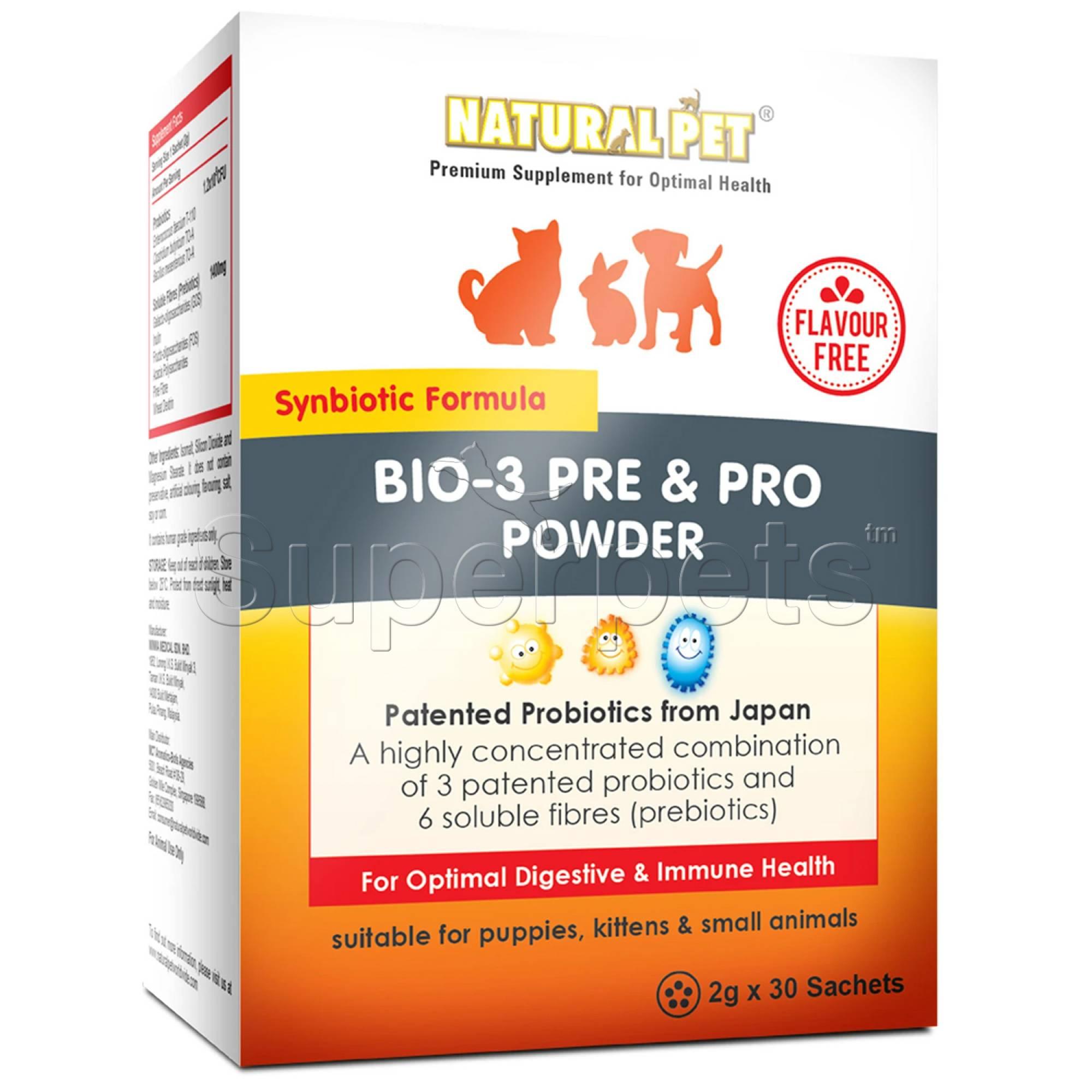 Natural Pet - Bio-3 Pre & Pro Powder (Flavour Free) - 2g x 30 Sachets