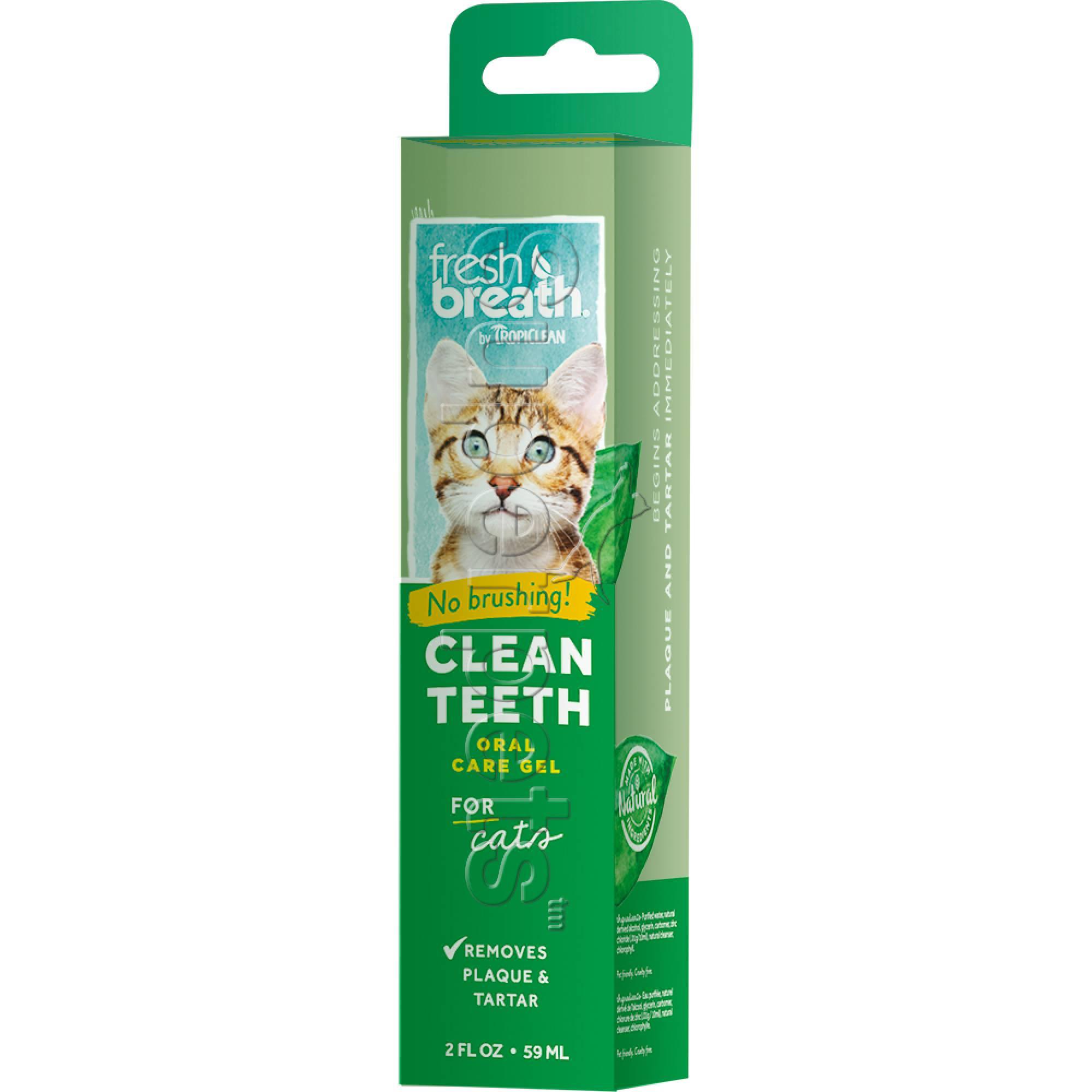 Tropiclean FRESH BREATH Clean Teeth Oral Care Gel for Cats 2oz (59ml)