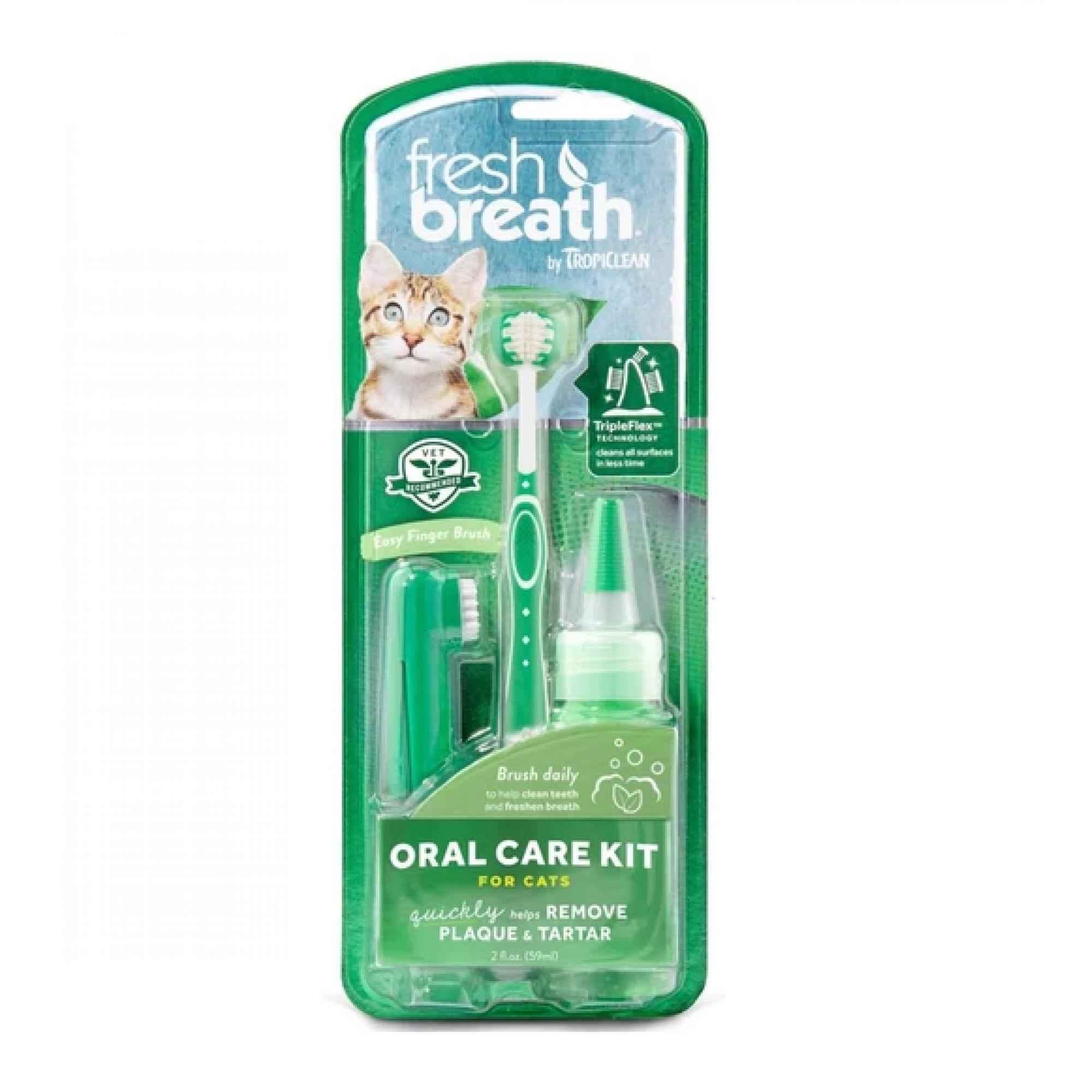 Tropiclean FRESH BREATH Oral Care Kit for Cat 2oz (59ml)