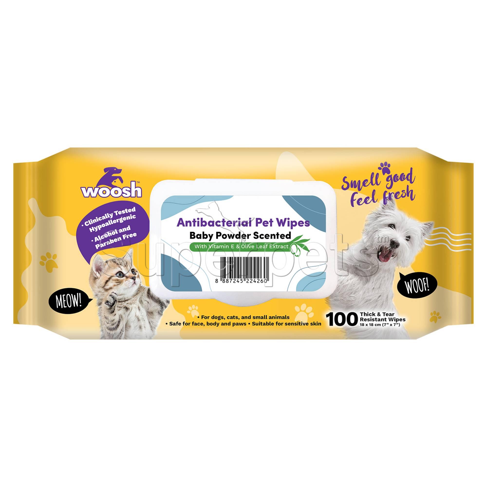Woosh - Anti Bacterial Pet Wipes 100pcs (BabyPowder)
